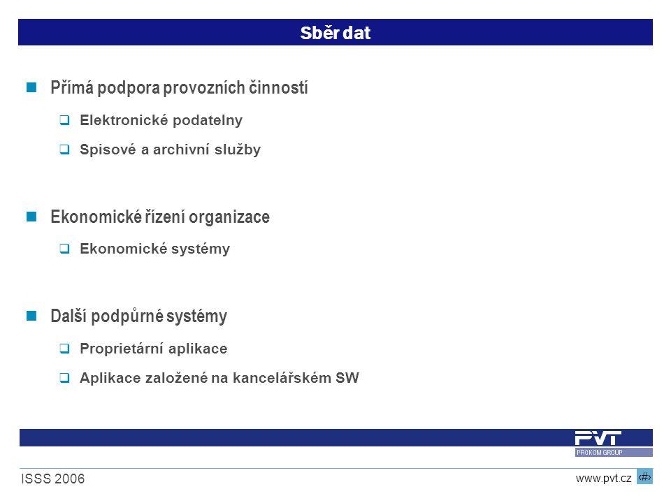 7 www.pvt.cz ISSS 2006 Sběr dat Přímá podpora provozních činností  Elektronické podatelny  Spisové a archivní služby Ekonomické řízení organizace  Ekonomické systémy Další podpůrné systémy  Proprietární aplikace  Aplikace založené na kancelářském SW