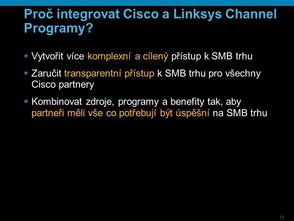 13 Proč integrovat Cisco a Linksys Channel Programy?  Vytvořit více komplexní a cílený přístup k SMB trhu  Zaručit transparentní přístup k SMB trhu