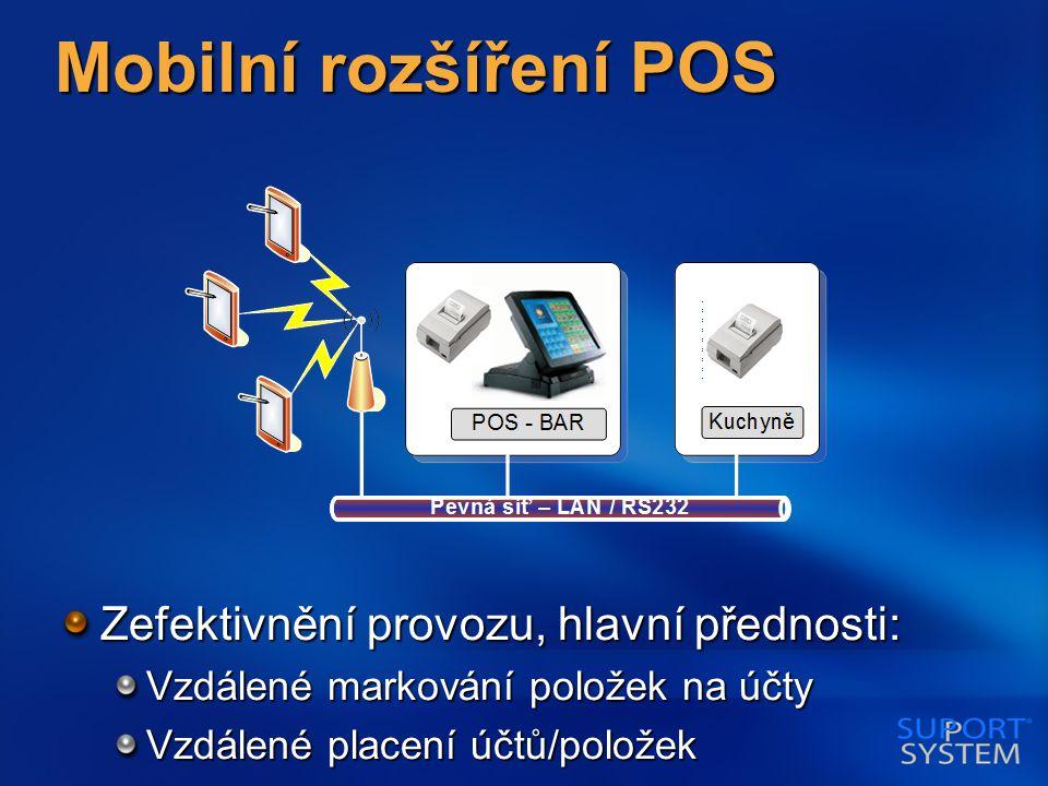 Mobilní rozšíření POS Zefektivnění provozu, hlavní přednosti: Vzdálené markování položek na účty Vzdálené placení účtů/položek
