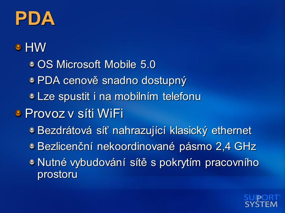 PDA HW OS Microsoft Mobile 5.0 PDA cenově snadno dostupný Lze spustit i na mobilním telefonu Provoz v síti WiFi Bezdrátová síť nahrazující klasický ethernet Bezlicenční nekoordinované pásmo 2,4 GHz Nutné vybudování sítě s pokrytím pracovního prostoru