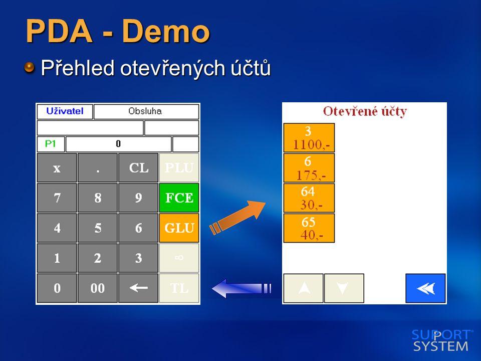 PDA - Demo Přehled otevřených účtů