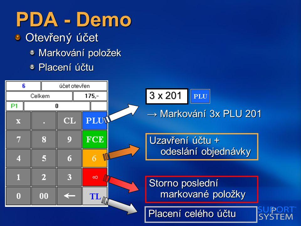PDA - Demo Otevřený účet Markování položek Placení účtu Uzavření účtu + odeslání objednávky Storno poslední markované položky → Markování 3x PLU 201 3 x 201 Placení celého účtu