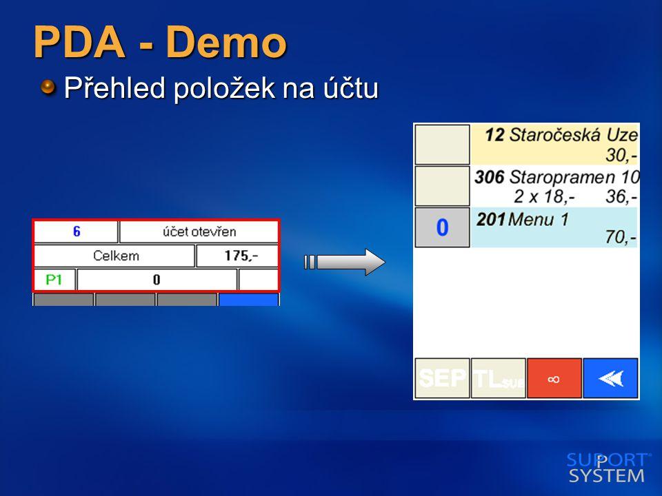 PDA - Demo Přehled položek na účtu