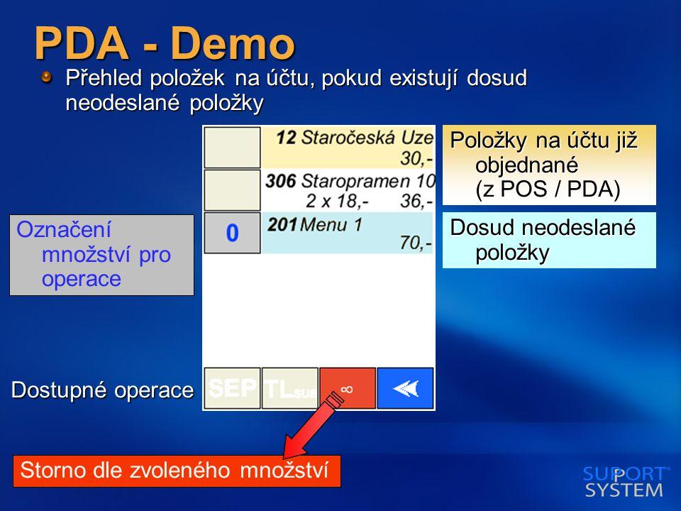 PDA - Demo Přehled položek na účtu, pokud existují dosud neodeslané položky Dosud neodeslané položky Položky na účtu již objednané (z POS / PDA) Označení množství pro operace Dostupné operace Storno dle zvoleného množství