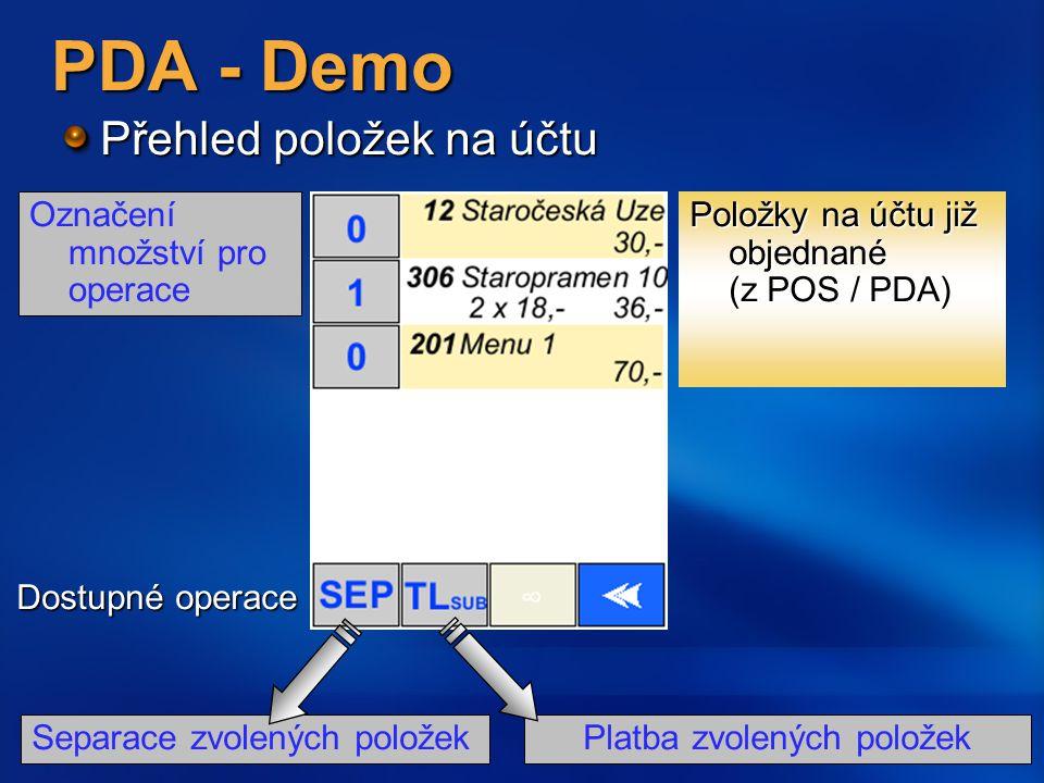 Platba zvolených položek PDA - Demo Přehled položek na účtu Položky na účtu již objednané (z POS / PDA) Označení množství pro operace Dostupné operace Separace zvolených položek