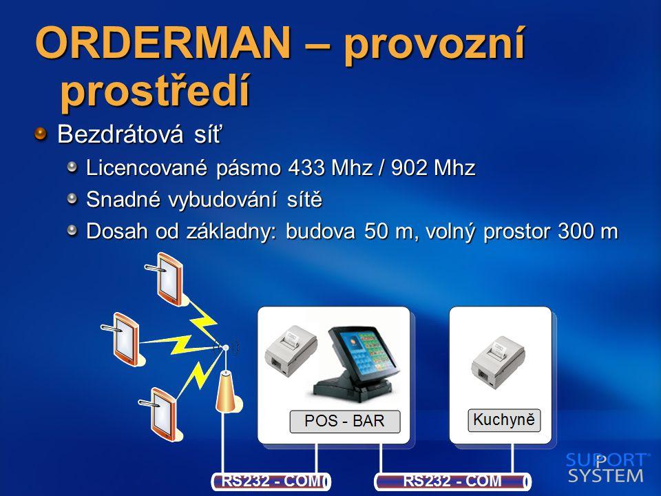 ORDERMAN – provozní prostředí Bezdrátová síť Licencované pásmo 433 Mhz / 902 Mhz Snadné vybudování sítě Dosah od základny: budova 50 m, volný prostor 300 m