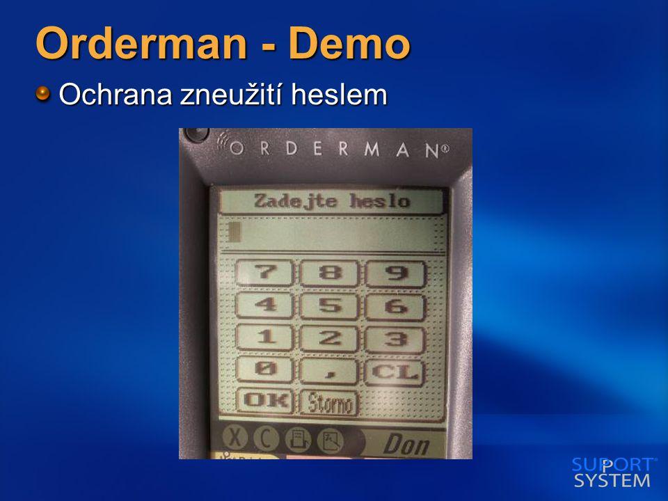 Orderman - Demo Ochrana zneužití heslem