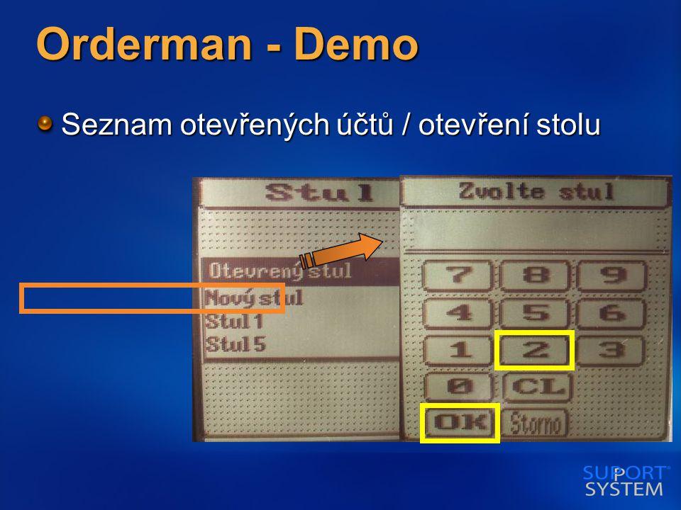 Orderman - Demo Seznam otevřených účtů / otevření stolu