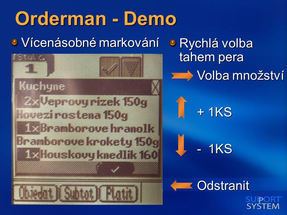 Orderman - Demo Vícenásobné markování Rychlá volba tahem pera Volba množství Volba množství + 1KS + 1KS - 1KS - 1KS Odstranit Odstranit