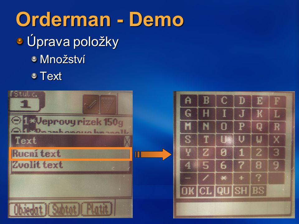 Orderman - Demo Úprava položky MnožstvíText