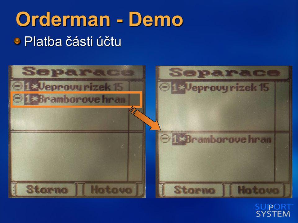 Orderman - Demo Platba části účtu