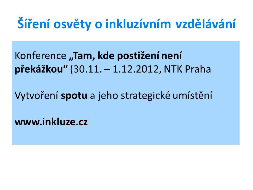 """Šíření osvěty o inkluzívním vzdělávání Konference """"Tam, kde postižení není překážkou"""" (30.11. – 1.12.2012, NTK Praha Vytvoření spotu a jeho strategick"""