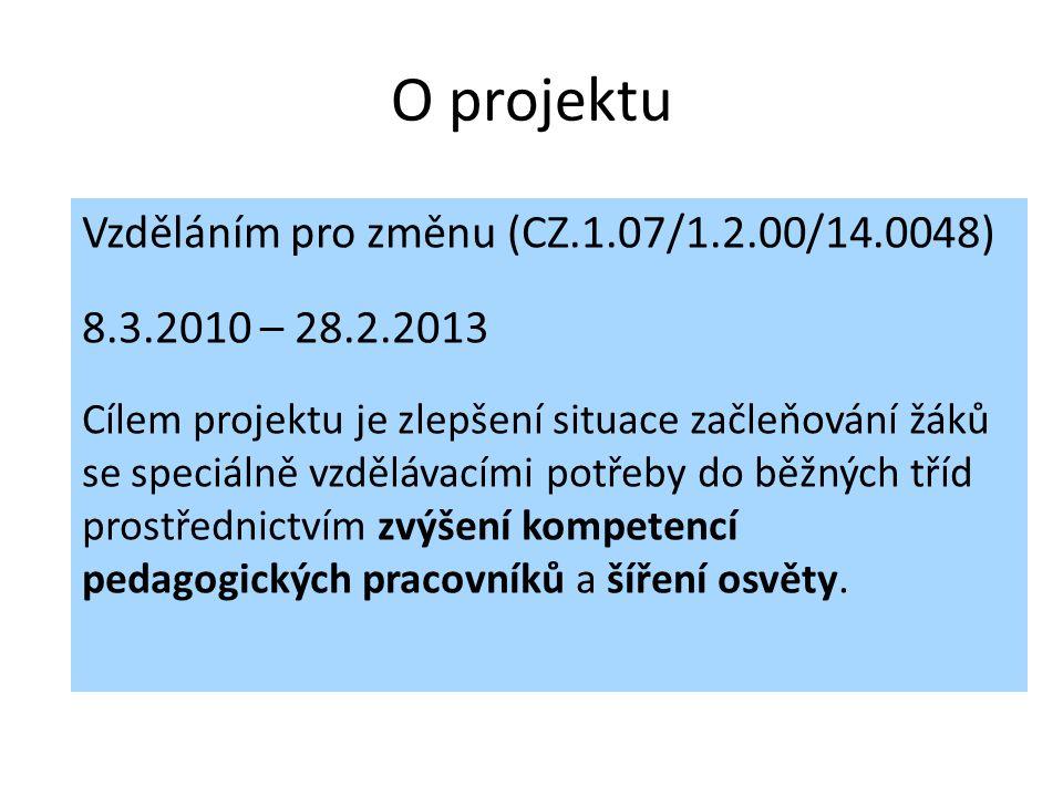 O projektu Vzděláním pro změnu (CZ.1.07/1.2.00/14.0048) 8.3.2010 – 28.2.2013 Cílem projektu je zlepšení situace začleňování žáků se speciálně vzděláva