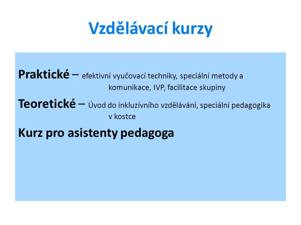 Vzdělávací kurzy Praktické – efektivní vyučovací techniky, speciální metody a komunikace, IVP, facilitace skupiny Teoretické – Úvod do inkluzívního vz