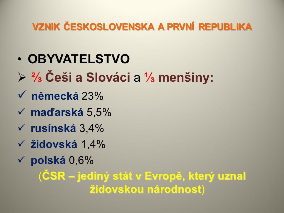 VZNIK ČESKOSLOVENSKA A PRVNÍ REPUBLIKA OBYVATELSTVO  ⅔ Češi a Slováci a ⅓ menšiny: německá 23% maďarská 5,5% rusínská 3,4% židovská 1,4% polská 0,6%