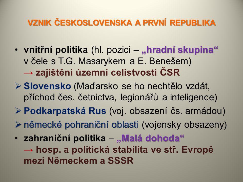 """VZNIK ČESKOSLOVENSKA A PRVNÍ REPUBLIKA """"hradní skupina""""vnitřní politika (hl. pozici – """"hradní skupina"""" v čele s T.G. Masarykem a E. Benešem) → zajiště"""