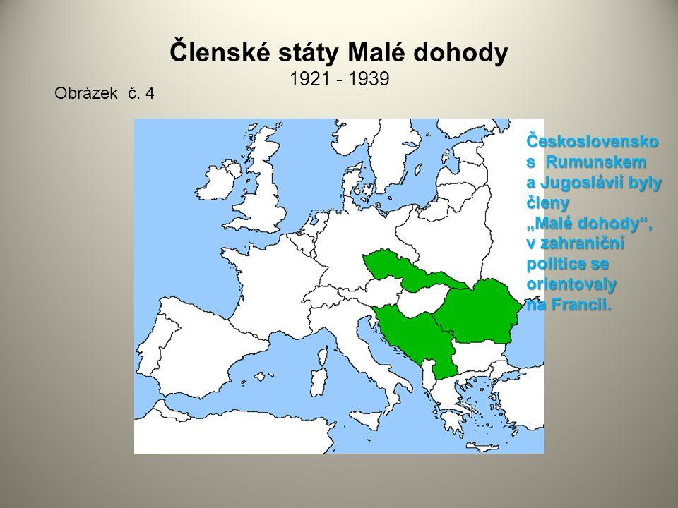 """Členské státy Malé dohody 1921 - 1939 Obrázek č. 4 Československo s Rumunskem a Jugoslávií byly členy """"Malé dohody"""", v zahraniční politice se orientov"""