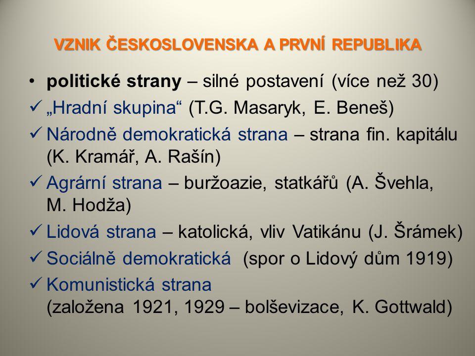 """VZNIK ČESKOSLOVENSKA A PRVNÍ REPUBLIKA politické strany – silné postavení (více než 30) """"Hradní skupina"""" (T.G. Masaryk, E. Beneš) Národně demokratická"""