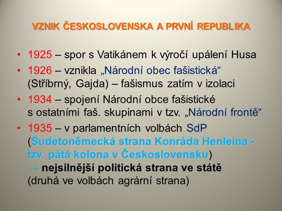 """VZNIK ČESKOSLOVENSKA A PRVNÍ REPUBLIKA 1925 – spor s Vatikánem k výročí upálení Husa 1926 – vznikla """"Národní obec fašistická"""" (Stříbrný, Gajda) – faši"""