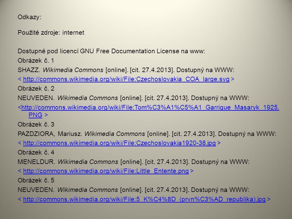 Odkazy: Použité zdroje: internet Dostupné pod licencí GNU Free Documentation License na www: Obrázek č. 1 SHAZZ. Wikimedia Commons [online]. [cit. 27.