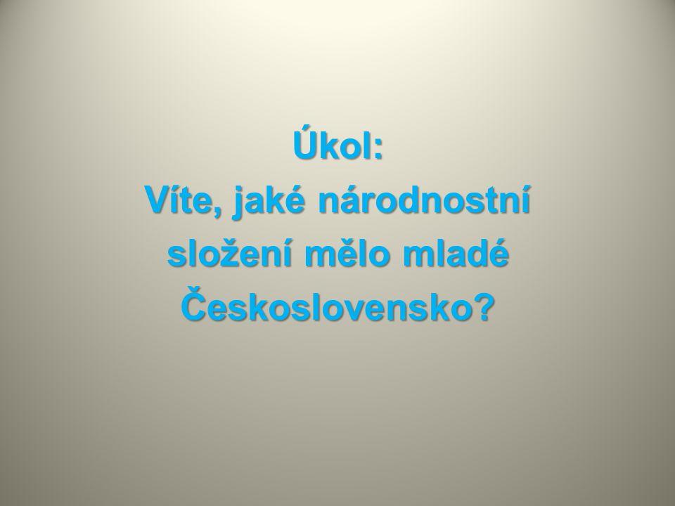 Úkol: Víte, jaké národnostní složení mělo mladé Československo?