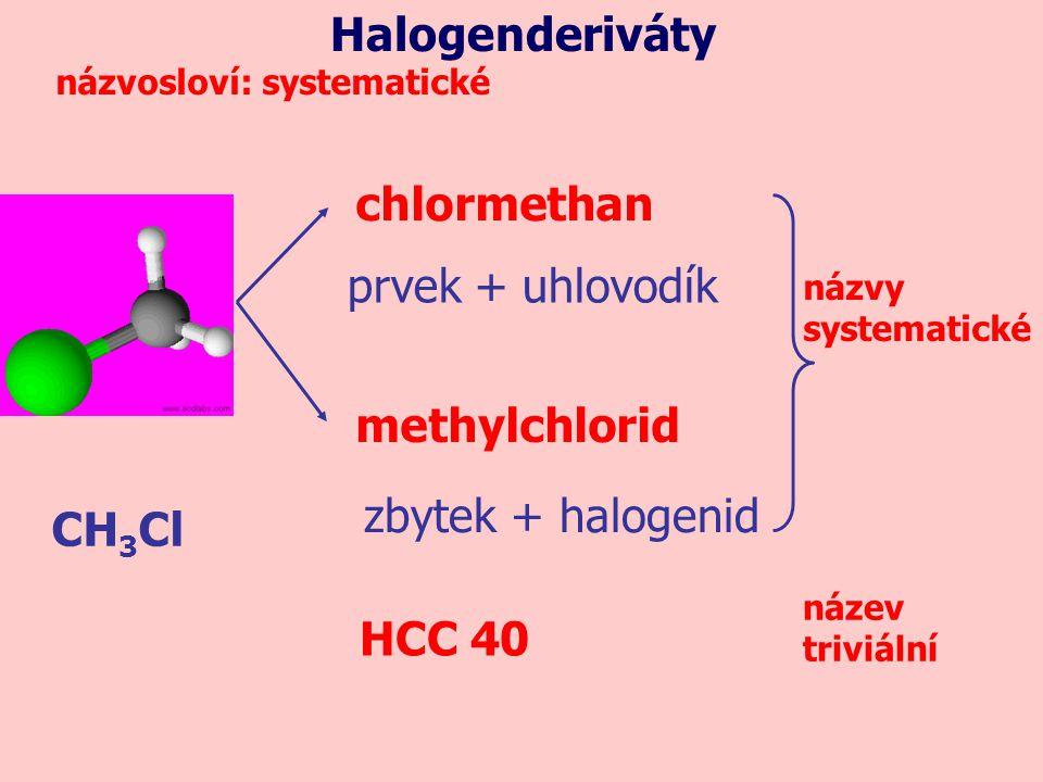 CH 3 Cl chlormethan methylchlorid prvek + uhlovodík zbytek + halogenid Halogenderiváty názvosloví: systematické názvy systematické HCC 40 název triviá