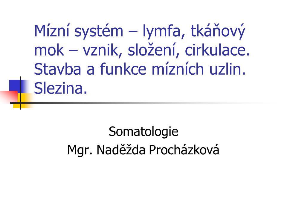 Mízní systém – lymfa, tkáňový mok – vznik, složení, cirkulace. Stavba a funkce mízních uzlin. Slezina. Somatologie Mgr. Naděžda Procházková