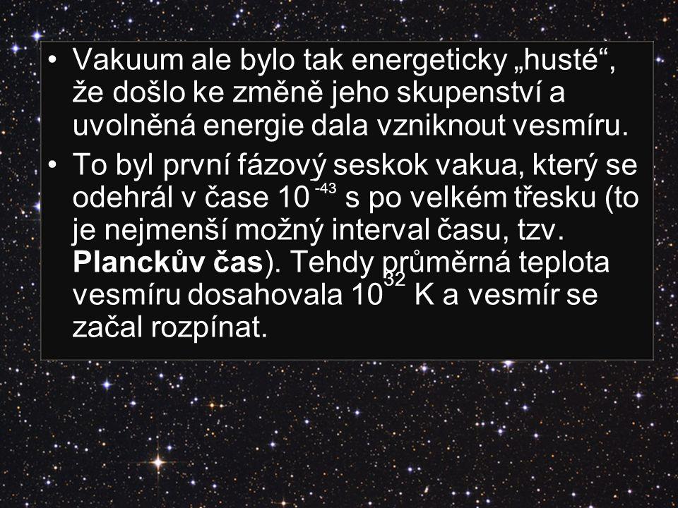 """Vakuum ale bylo tak energeticky """"husté"""", že došlo ke změně jeho skupenství a uvolněná energie dala vzniknout vesmíru. To byl první fázový seskok vakua"""