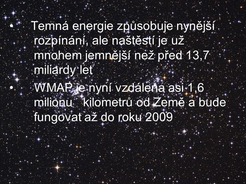 Temná energie způsobuje nynější rozpínání, ale naštěstí je už mnohem jemnější než před 13,7 miliardy let WMAP je nyní vzdálena asi 1,6 milionu kilomet