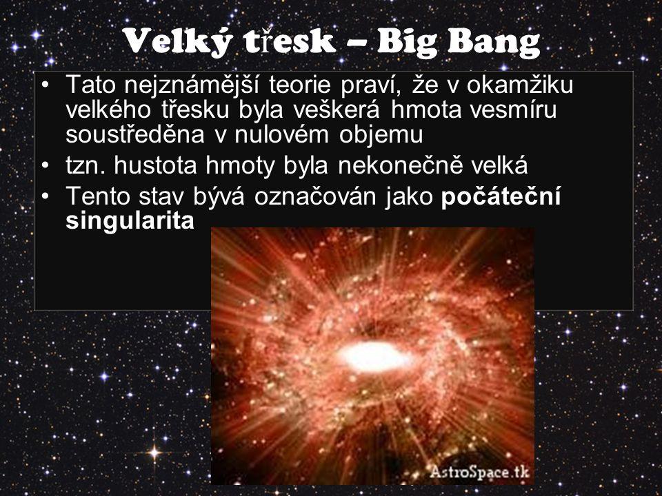 Tato nejznámější teorie praví, že v okamžiku velkého třesku byla veškerá hmota vesmíru soustředěna v nulovém objemu tzn. hustota hmoty byla nekonečně