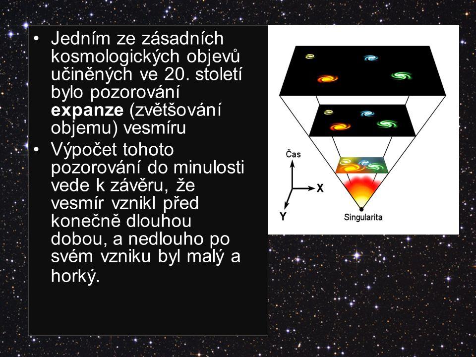 Jedním ze zásadních kosmologických objevů učiněných ve 20. století bylo pozorování expanze (zvětšování objemu) vesmíru Výpočet tohoto pozorování do mi