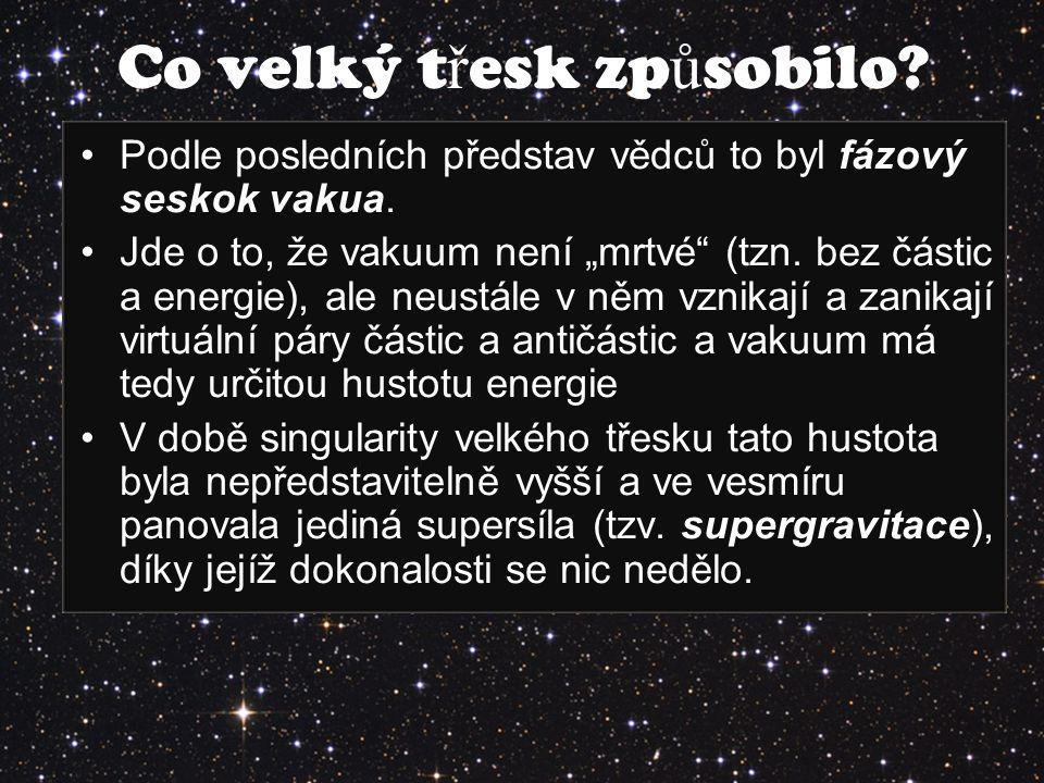 """Podle posledních představ vědců to byl fázový seskok vakua. Jde o to, že vakuum není """"mrtvé"""" (tzn. bez částic a energie), ale neustále v něm vznikají"""