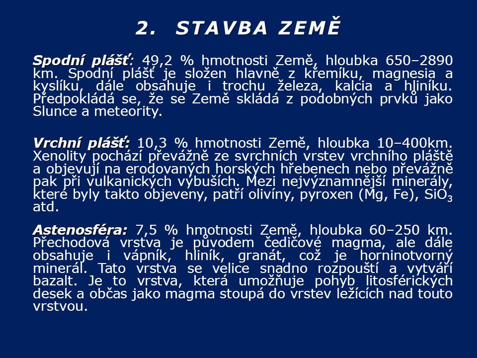 2. STAVBA ZEMĚ Spodní plášť: Spodní plášť: 49,2 % hmotnosti Země, hloubka 650–2890 km. Spodní plášť je složen hlavně z křemíku, magnesia a kyslíku, dá