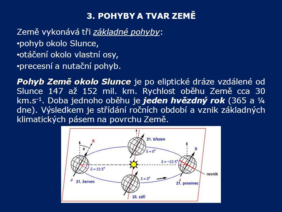3. POHYBY A TVAR ZEMĚ Země vykonává tři základné pohyby: pohyb okolo Slunce, otáčení okolo vlastní osy, precesní a nutační pohyb. Pohyb Země okolo Slu