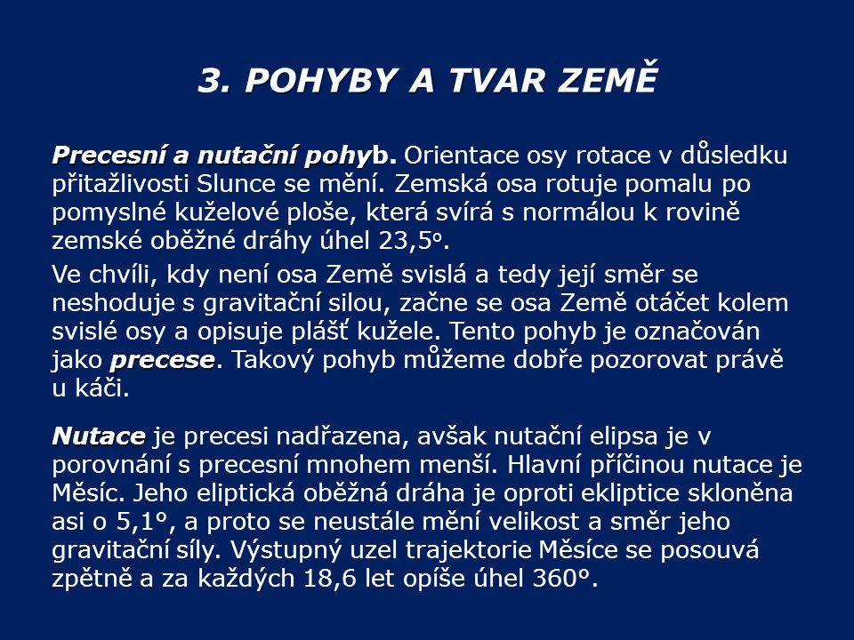 . POHYBY A TVAR ZE 3. POHYBY A TVAR ZEMĚ Precesní a nutační pohy Precesní a nutační pohyb. Orientace osy rotace v důsledku přitažlivosti Slunce se měn