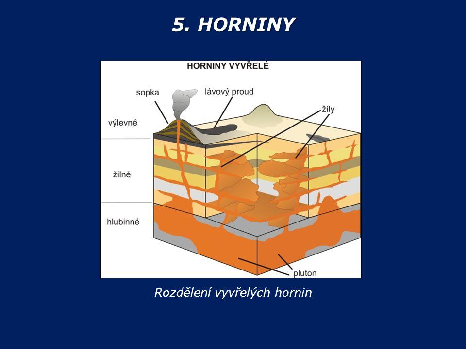 5. HORNINY Rozdělení vyvřelých hornin