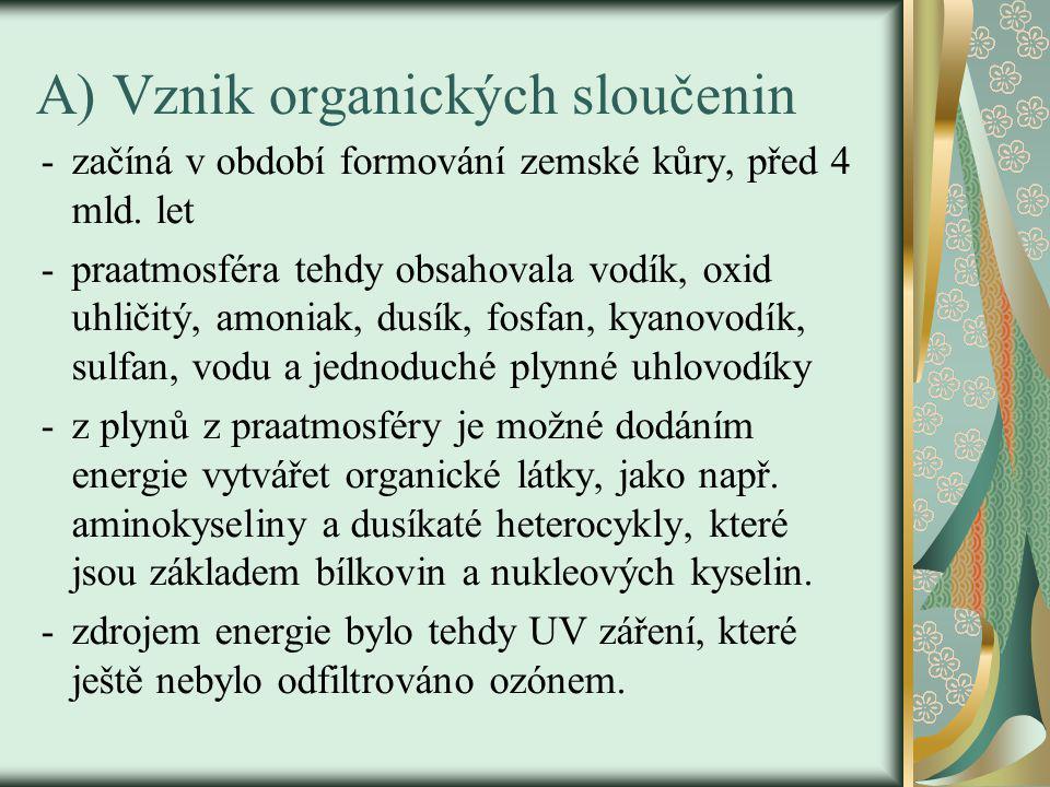 A) Vznik organických sloučenin -začíná v období formování zemské kůry, před 4 mld.