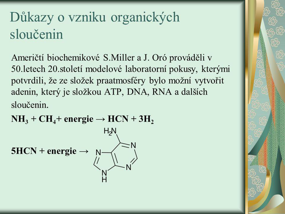 Důkazy o vzniku organických sloučenin Američtí biochemikové S.Miller a J.