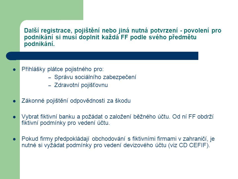 Další registrace, pojištění nebo jiná nutná potvrzení - povolení pro podnikání si musí doplnit každá FF podle svého předmětu podnikání. Přihlášky plát