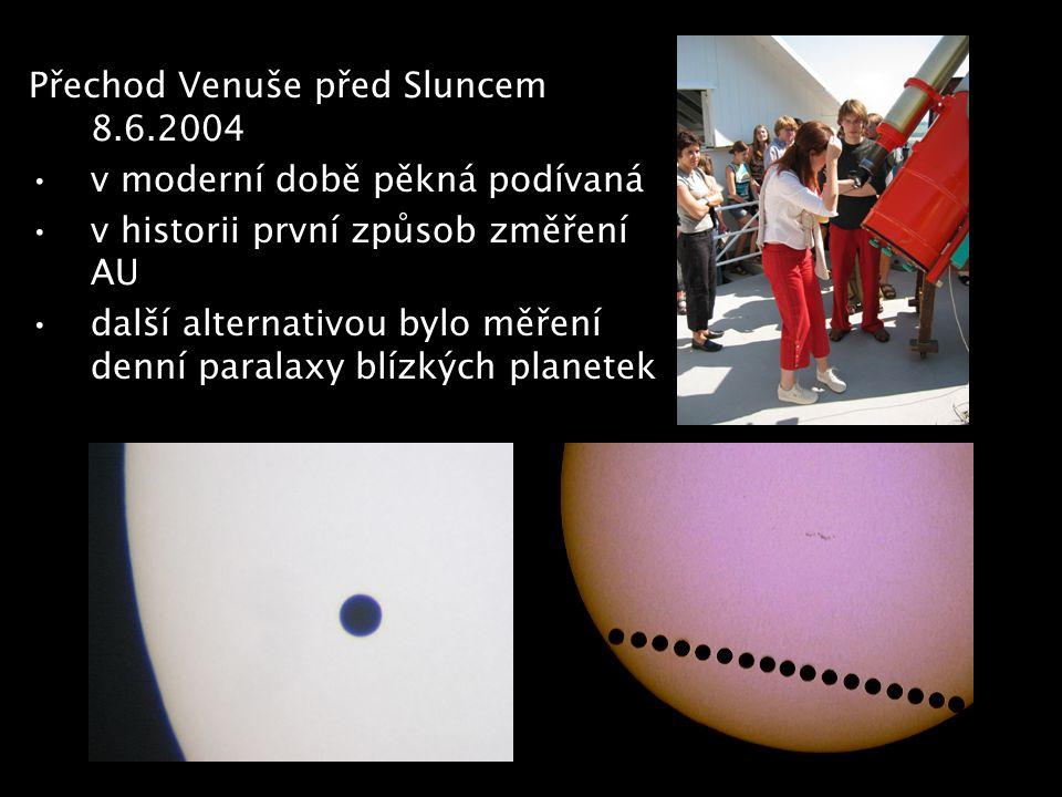 Přechod Venuše před Sluncem 8.6.2004 v moderní době pěkná podívaná v historii první způsob změření AU další alternativou bylo měření denní paralaxy bl