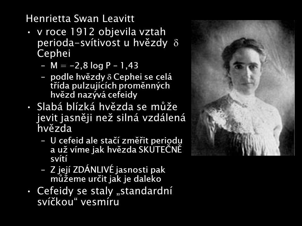 Henrietta Swan Leavitt v roce 1912 objevila vztah perioda-svítivost u hvězdy  Cephei –M = -2,8 log P – 1,43 –podle hvězdy  Cephei se celá třída pul