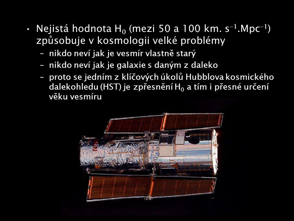 Nejistá hodnota H 0 (mezi 50 a 100 km. s -1.Mpc -1 ) způsobuje v kosmologii velké problémy –nikdo neví jak je vesmír vlastně starý –nikdo neví jak je