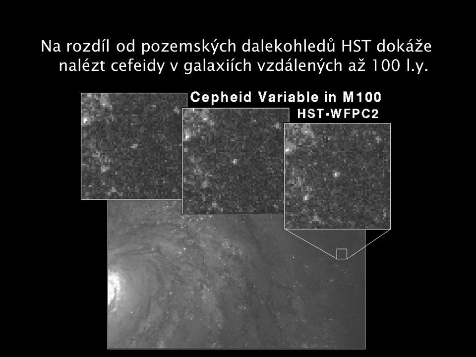 Na rozdíl od pozemských dalekohledů HST dokáže nalézt cefeidy v galaxiích vzdálených až 100 l.y.
