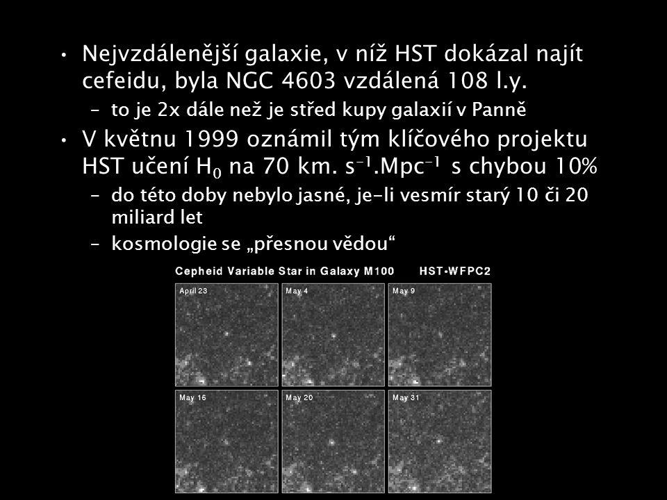 Nejvzdálenější galaxie, v níž HST dokázal najít cefeidu, byla NGC 4603 vzdálená 108 l.y. –to je 2x dále než je střed kupy galaxií v Panně V květnu 199