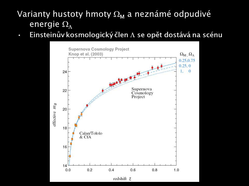 Varianty hustoty hmoty  M a neznámé odpudivé energie   Einsteinův kosmologický člen  se opět dostává na scénu