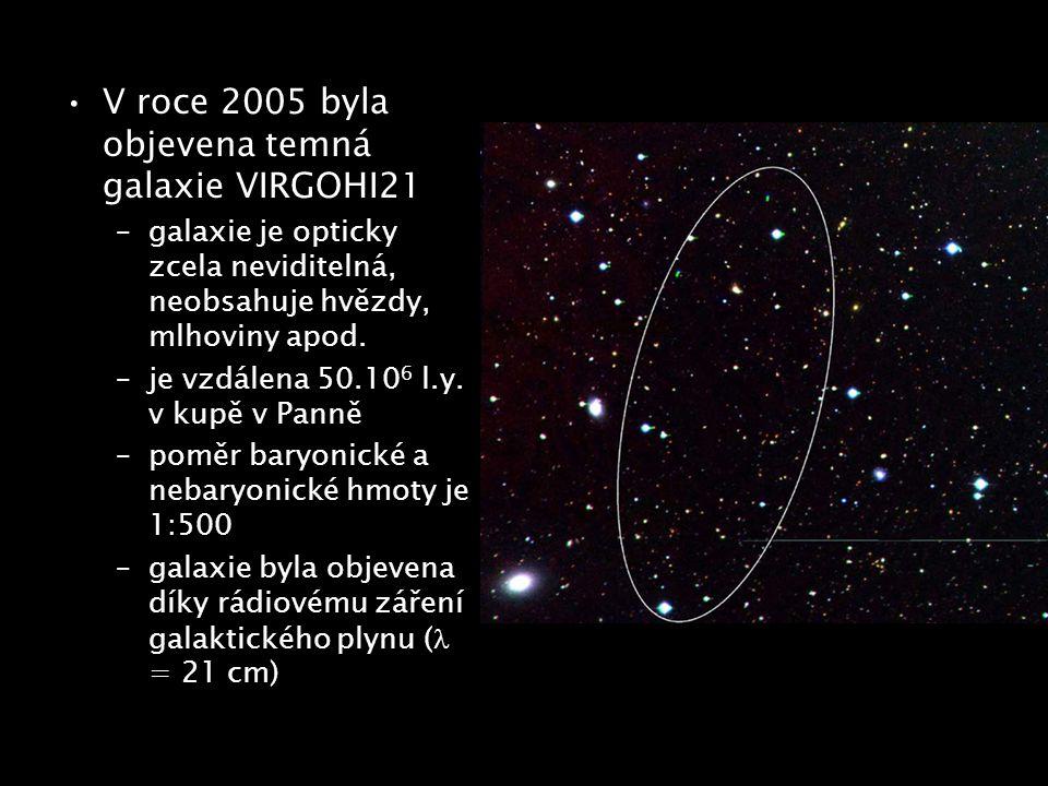 V roce 2005 byla objevena temná galaxie VIRGOHI21 –galaxie je opticky zcela neviditelná, neobsahuje hvězdy, mlhoviny apod. –je vzdálena 50.10 6 l.y. v