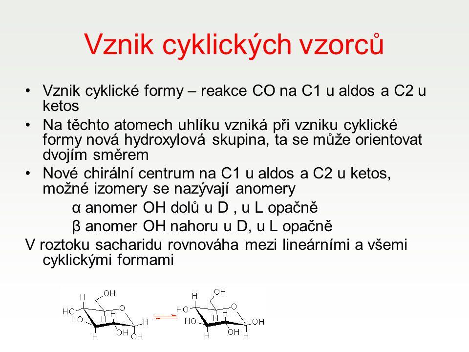 Vznik cyklických vzorců Vznik cyklické formy – reakce CO na C1 u aldos a C2 u ketos Na těchto atomech uhlíku vzniká při vzniku cyklické formy nová hyd