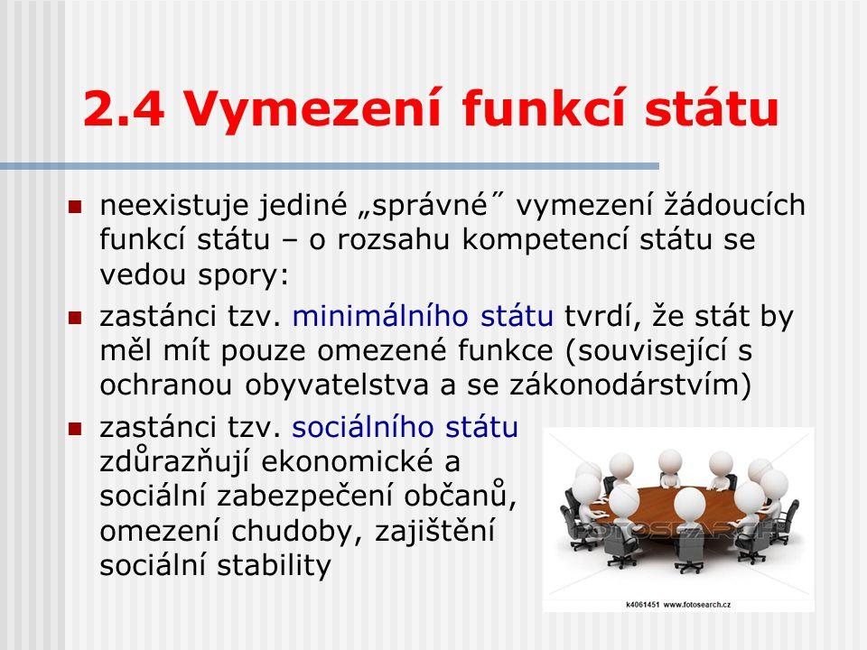 """2.4 Vymezení funkcí státu neexistuje jediné """"správné˝ vymezení žádoucích funkcí státu – o rozsahu kompetencí státu se vedou spory: zastánci tzv."""