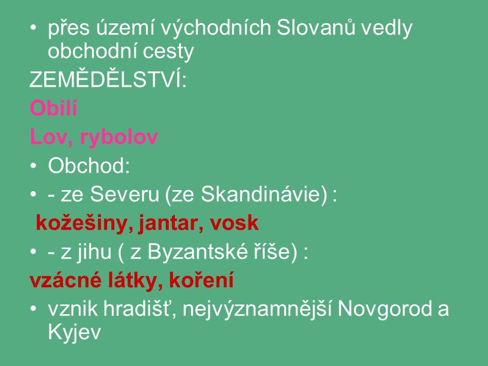 přes území východních Slovanů vedly obchodní cesty ZEMĚDĚLSTVÍ: Obilí Lov, rybolov Obchod: - ze Severu (ze Skandinávie) : kožešiny, jantar, vosk - z jihu ( z Byzantské říše) : vzácné látky, koření vznik hradišť, nejvýznamnější Novgorod a Kyjev