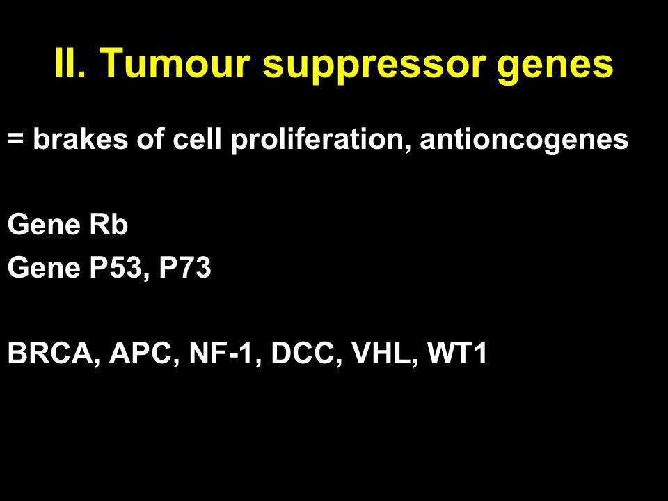 II. Tumour suppressor genes = brakes of cell proliferation, antioncogenes Gene Rb Gene P53, P73 BRCA, APC, NF-1, DCC, VHL, WT1